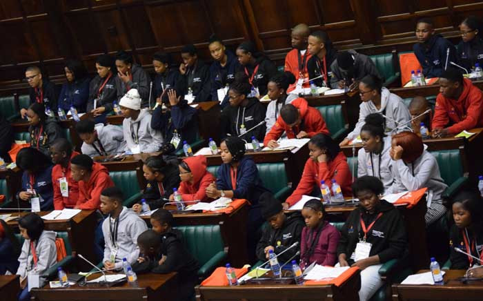 Young people attending the 2018 Nelson Mandela Children's Fund and Parliament Youth Summit. Picture: @NMCF_SA/Twitter.
