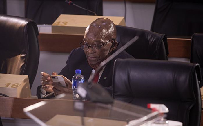 Former President Jacob Zuma at the state capture inquiry. Picture: Xanderleigh Dookey/ EWN.