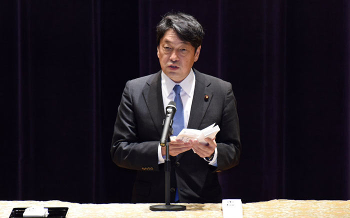 File: Japan's Defence Minister Itsunori Onodera delivers a speech at the Defence Ministry in Tokyo on 11 September 2017. Picture: AFP