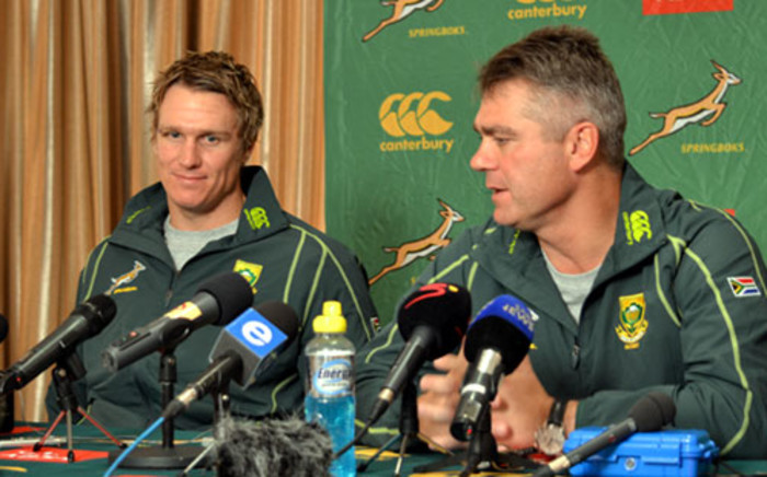 Jean de Villiers and Springbok coach Heyneke Meyer at the press conference in Durban where De Villiers was officially announced as the new captain on 4 June 2012. Picture: Aletta Gardner/EWN