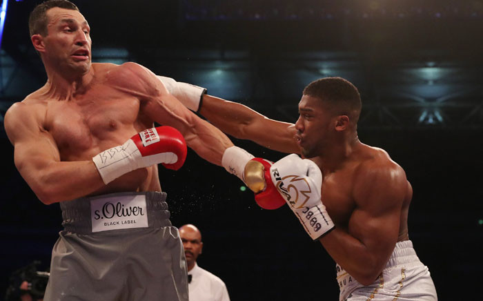 Anthony Joshua delivered one of the great nights in British boxing annals by stopping Ukrainian Wladimir Klitschko in the 11th round. Picture: Twitter/ @SkySportsBoxing.