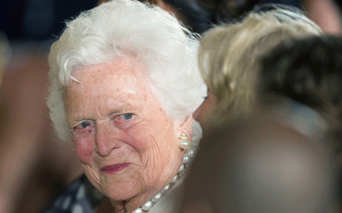 In this file photo taken on 15 July, 2013 former US first lady Barbara Bush attends a White House ceremony to recognise the Points of Light volunteer program in Washington, DC. Former US first lady Barbara Bush died on Tuesday, April 17, 2018 at the age of 92. Picture: AFP.