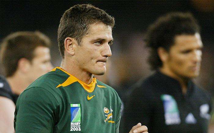 FILE: Joost van der Westhuizen at the end of the Rugby World Cup quarter-final match between New Zealand and South Africa in Melbourne on 8 November 2003. New Zealand beat South Africa 29-9. Picture: AFP.