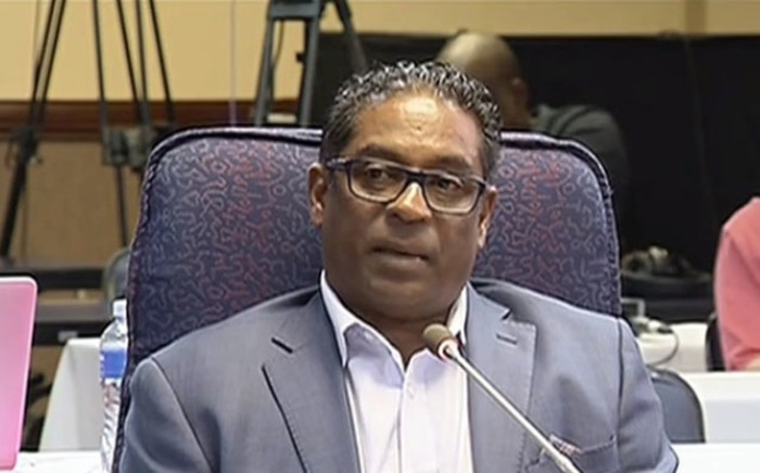 A screengrab of Casac's Lawson Naidoo making submissions at the Mokgoro Inquiry on 27 February 2019.