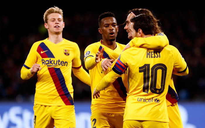 Barcelona players celebrate their goal against Napoli in their UEFA Champions League match on 25 February 2020. Picture: @FCBarcelona/Twitter