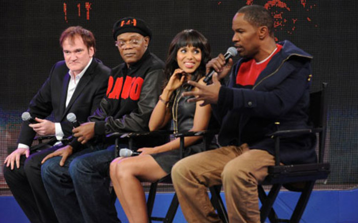Some of the Django Unchained cast members - Quentin Tarantino, Samuel L Jackson, Kerry Washington and Jamie Fox. Picture: AFP