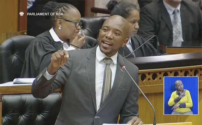 Democratic Alliance leader Mmusi Maimane in Parliament on Tuesday 5 April 2016. Picture. EWN.