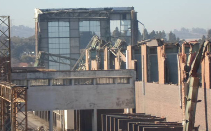 After many years of vandals stripping the steel structures at the old Orlando power station, it finally collapsed on 25 June 2014. Picture: iWN.