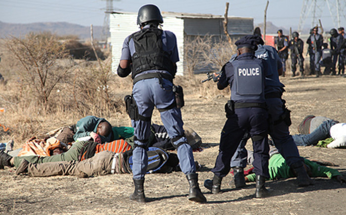 Police open fire at protesting workers at the Lonmin mine in Marikana, North West on 16 August, 2012. Picture: Taurai Maduna/Eyewitness News