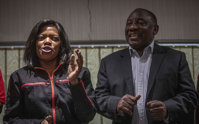President Cyril Ramaphosa with Cosatu leader Zingiswa Losi at trade union federation's central executive committee (CEC) meeting on 24 February 2020. Picture: Abigail Javier/EWN