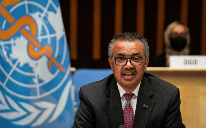 FILE: A handout photograph taken and released by the World Health Organisation (WHO) on 24 May 2021, shows the Director-General of the World Health Organization (WHO) Tedros Adhanom Ghebreyesus delivering a speech during the 74th World Health Assembly, at the WHO headquarters, in Geneva. Picture: Christopher Black/World Health Organization/AFP