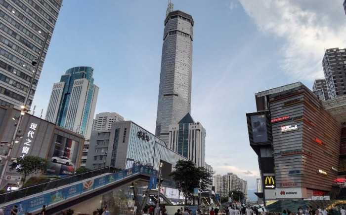 The 300-metre high SEG Plaza (C) is seen after it began to shake, in Shenzhen in China's southern Guangdong province on 18 May 2021. Picture: AFP