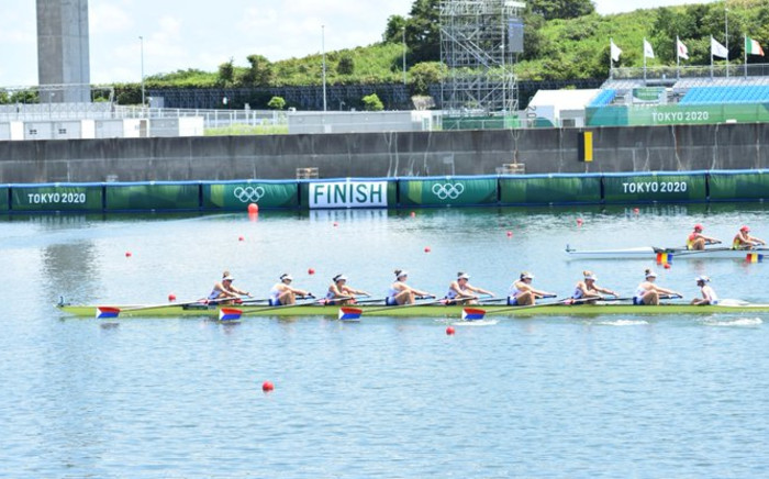 The USA hold off a final charge from Romania to win the last race of the day and progress directly to the final of the women's eight. Picture: Twitter/@WorldRowing
