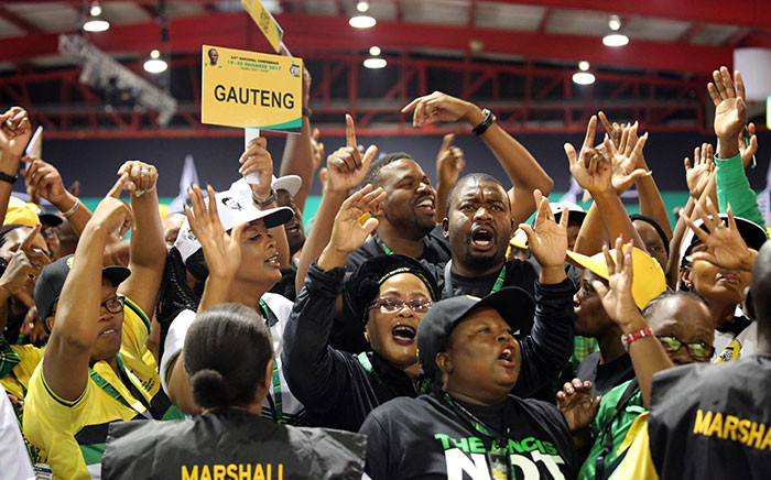 ANC members celebrate as the party's new top six is announced at the 54th national conference on 18 December 2017. Picture: Sethembiso Zulu/EWN