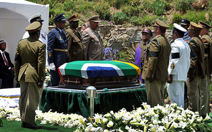 Nelson Mandela's coffin before it was lowered into his grave in Qunu on 15 December 2013. Picture: GCIS.