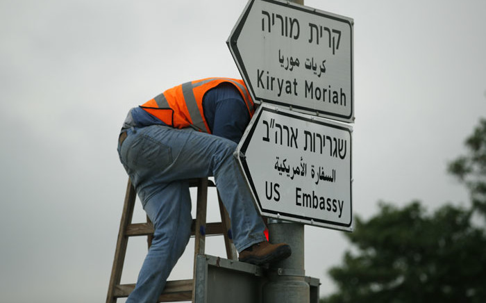 A new road sign indicating the way to the new US embassy in Jerusalem is set up on 7 May, 2018. The embassy move from Tel Aviv to Jerusalem is expected to occur on 14 May. Picture: AFP