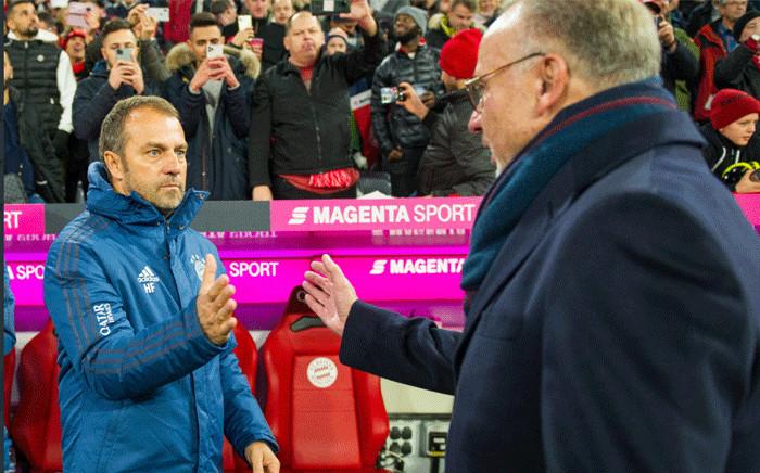 Bayern Munich coach Hansi Flick (left). Picture: @FCBayernEN/Twitter.