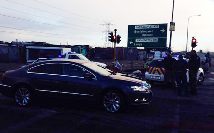 All entrances to Langa were closed to traffic due to a violent protest in the area on 9 July 2014. Picture: Shamiela Fisher/EWN.