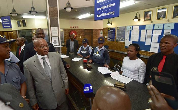 President Jacob Zuma visited the Nyanga police station on 14 February 2017. Picture: @PresidencyZA