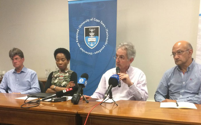 FILE: UCT vice chancellor Max Price (second from right) and his management team at a briefing on 2 November 2017. Picture: Graig-Lee Smith/EWN.