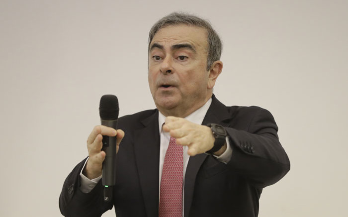 Former Renault-Nissan boss Carlos Ghosn addresses a large crowd of journalists on his reasons for dodging trial in Japan where he is accused of financial misconduct, at the Lebanese Press Syndicate in Beirut on 8 January 2020. Picture: AFP