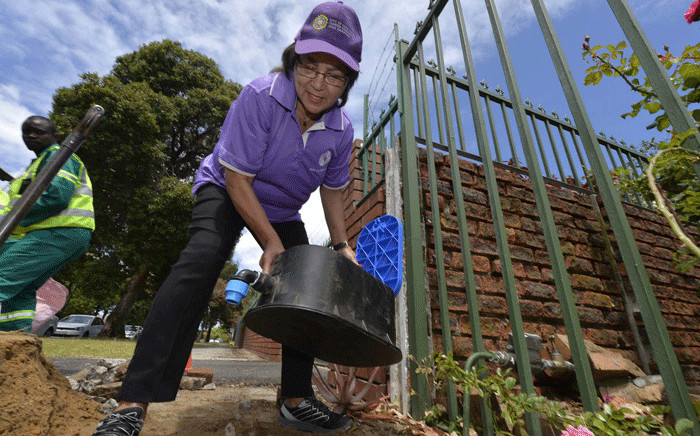 Cape Town Mayor Patricia de Lille seen on Sunday, 3 December 2017, as the city installed water management devices at properties amid a drought. Picture: @PatriciaDeLille/Twitter