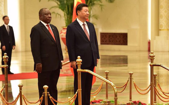 President Cyril Ramaphosa and China's Xi Jinping during the welcome ceremony at the Great Hall of the People in the People's Republic of China. Picture: @PresidencyZA/Twitter