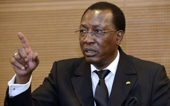 FILE. Chad's President Idriss Deby Itno talks during a press conference at France's largest employers' union Medef on December 6, 2012 in Paris. Picture: AFP.