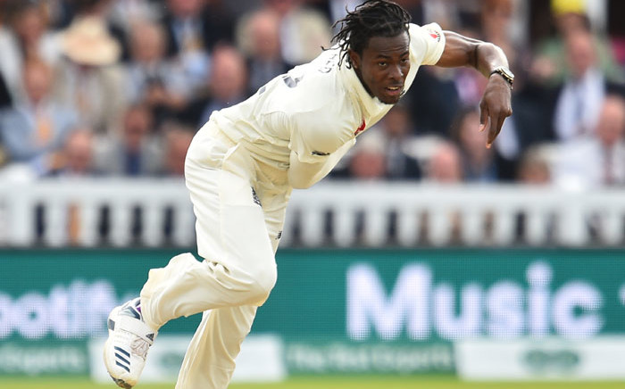 England's Jofra Archer bowls during play on the fifth day of the second Ashes cricket Test match between England and Australia at Lord's Cricket Ground in London on 18 August 2019. Picture: AFP