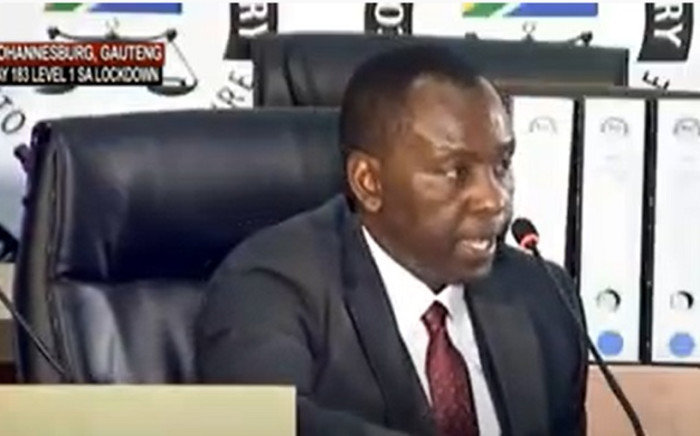 A screenshot of Mosebenzi Zwane appearing before the state capture commission on Friday, 25 September 2020. Picture: SABCNews/Youtube