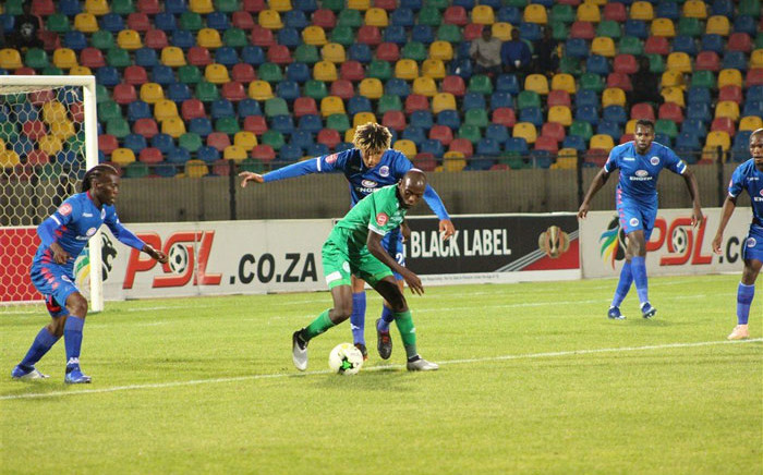 The SuperSport United defence keep their Bloemfontein Celtic opponent under control in their Absa Premiership match on 28 November 2018. Picture: @SuperSportFC/Twitter