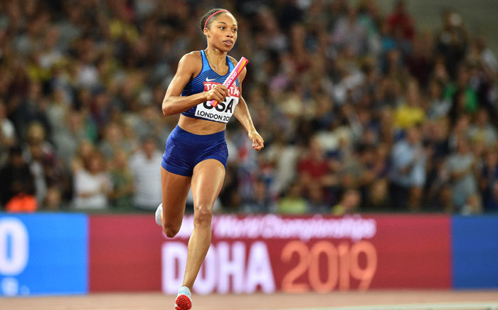 FILE: US athlete Allyson Felix competes in the final of the women's 4x400m relay athletics event at the 2017 IAAF World Championships at the London Stadium in London on 13 August 2017. Picture: AFP