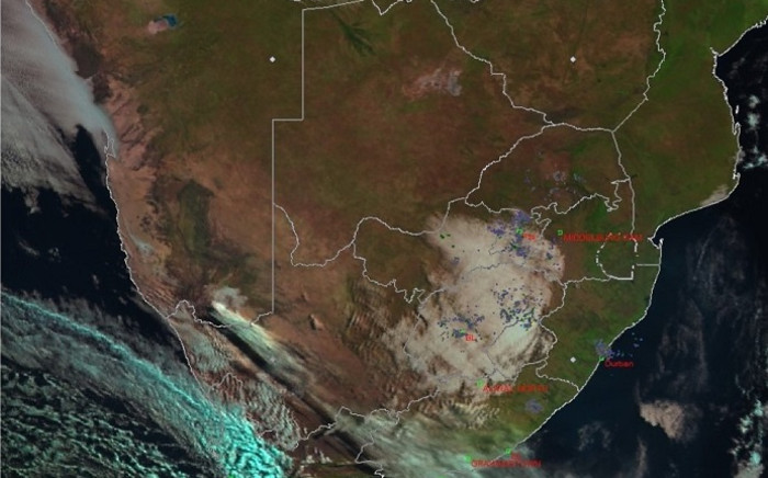A satellite image from the South African Weather Service shows an approaching cold front on 25 May 2020. Picture: @SAWeatherServic/Twitter.