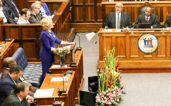 FILE: Western Cape Premier Helen Zille delivers her State of the Province Address. Picture: @WesternCapeGov/Twitter.
