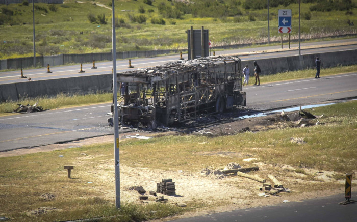 A MyCiti bus was torched on the N2 highway. Picture: Cindy Archillies