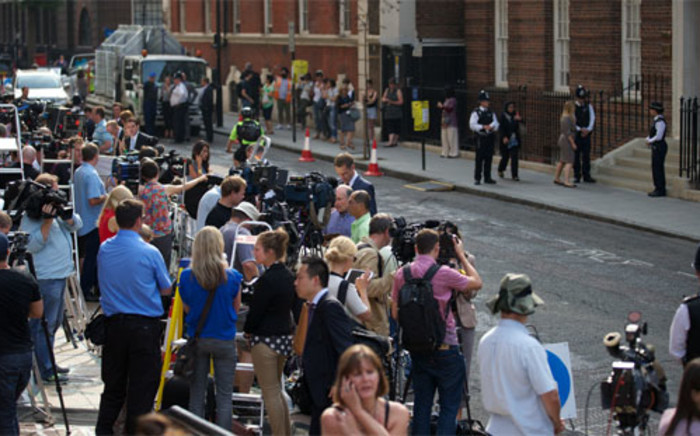 Media contingent camping outside St Mary's Hospital in London. Picture: AFP