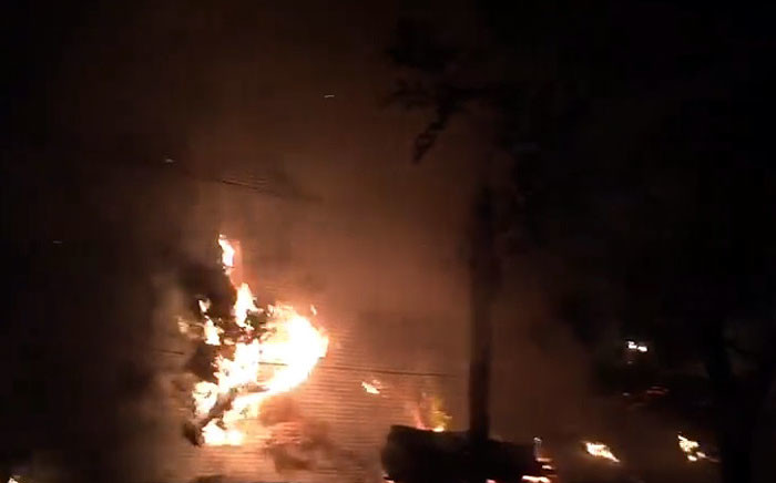 A screengrab shows a fire at Monkey Town on 13 December 2018.