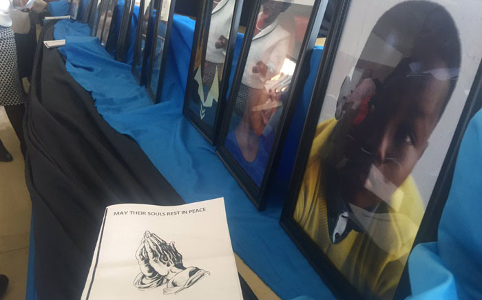 Pictures of some of the 18 learners who died in the Bronkhorstspruit crash at a memorial service held on 3 May 2017. Picture: Hitekani Magwedze/EWN.