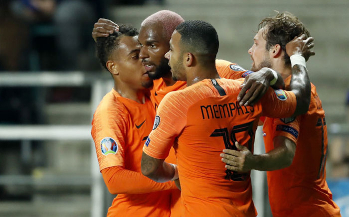 Netherlands forward Ryan Babel (second from left) celebrates a goal with his teammates during their Euro 2020 qualifier against Estonia on 9 September 2019. Picture: @UEFAEURO/Twitter