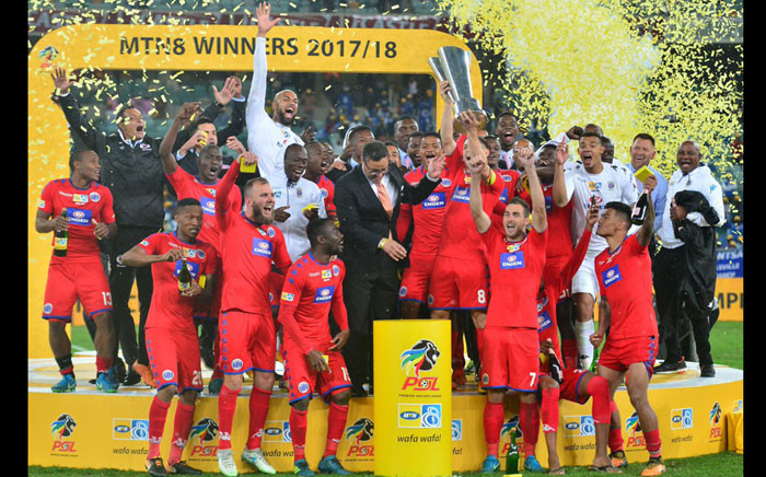 FILE: The #MTN8 Champions, SuperSport United FC, celebrate after beating Cape Town City FC. Picture: @SuperSportFC/Twitter.