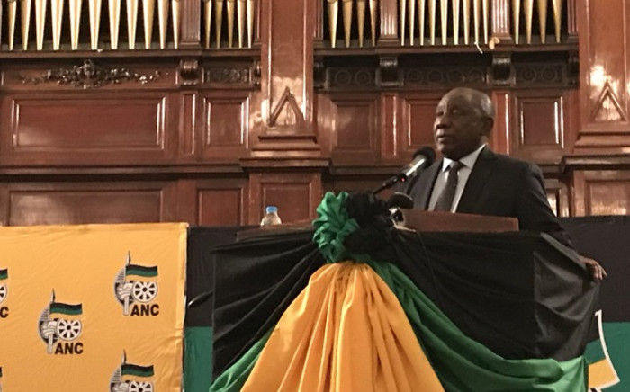 ANC President Cyril Ramaphosa at the Winnie Madikizela-Mandela Memorial Lecture. Picture: @MyANC/Twitter