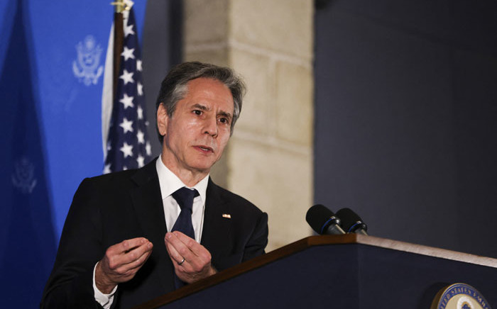 US Secretary of State Antony Blinken speaks during a news conference in Jerusalem, on 25 May 2021. Picture: Ronen Zvulun/AFP