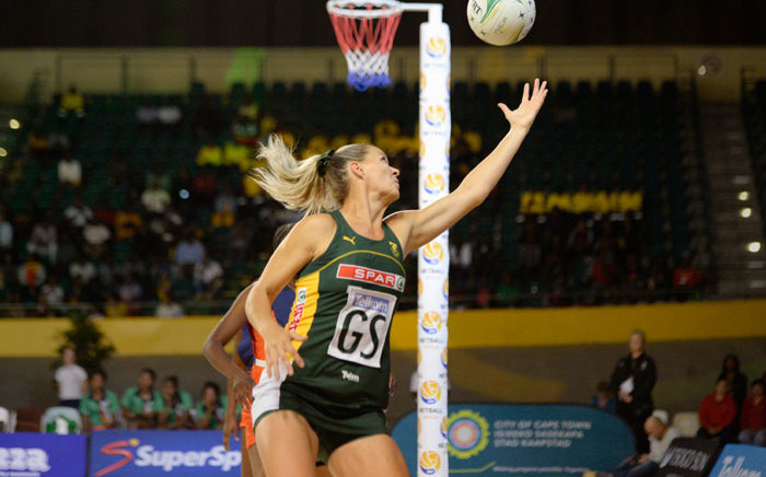 The Proteas take on Zambia in the Africa Netball Cup match at the Bellville Velodrome in Cape Town on 22 October 2019. Picture: @Netball_SA/Twitter