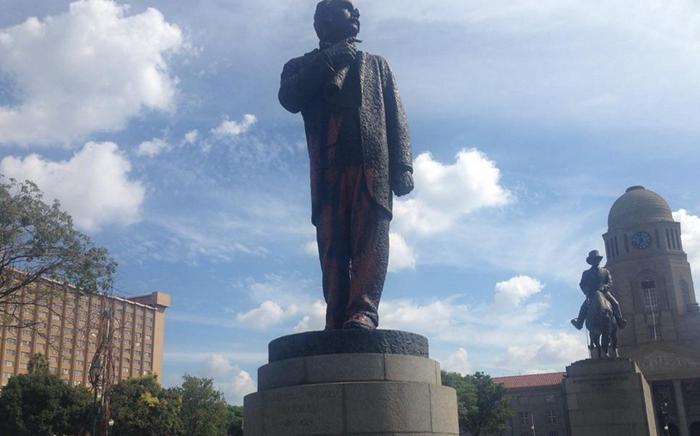 Martinus Wessel Pretorius statue has been vandalised. Picture: Mia Lindeque/EWN