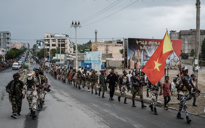 Soldiers of Tigray Defence Force (TDF) walk in lines towards another field in Mekele, the capital of Tigray region, Ethiopia, on June 30, 2021. Picture: Yasuyoshi Chiba / AFP