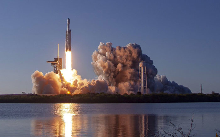 SpaceX's Falcon heavy rocket launches on 11 April 2019. Picture: @SpaceX/Twitter