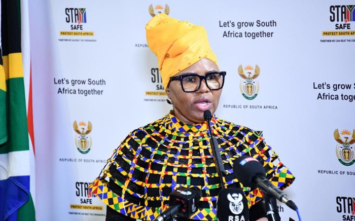 Social Development Minister Lindiwe Zulu briefed the media on 11 December 2020 on the implementation of the special COVID-19 social relief under the Department of Social Development. Picture: @The_DSD/Twitter