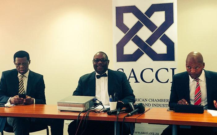 FILE: L-R: Tourism Council chairperson Mavuso Msimang, SACCI president Vusi Khumalo & Black Business Council CEO Mohale Ralibitso. Picture: Govan Whittles/EWN.