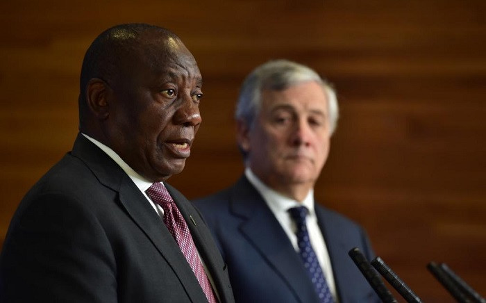 President Cyril Ramaphosa together with President of the European Parliament, Antonio Tajani, during a Press Conference ahead of addressing the European Parliament in Strasbourg, France on 14 November 2018.  Picture: @PresidencyZA/Twitter.com