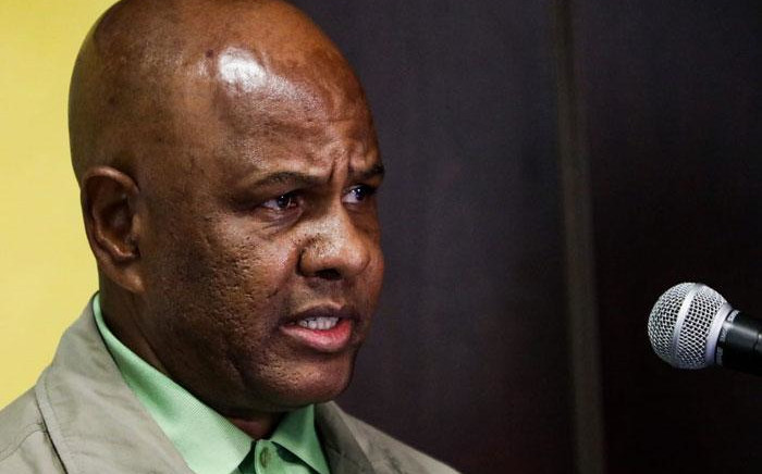 Amcu president Joseph Mathunjwa at a press briefing on 13 August 2019. Picture: Kayleen Morgan/EWN